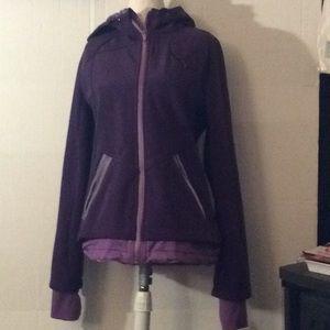 Athlete dark & light purple jacket with hoodie # S